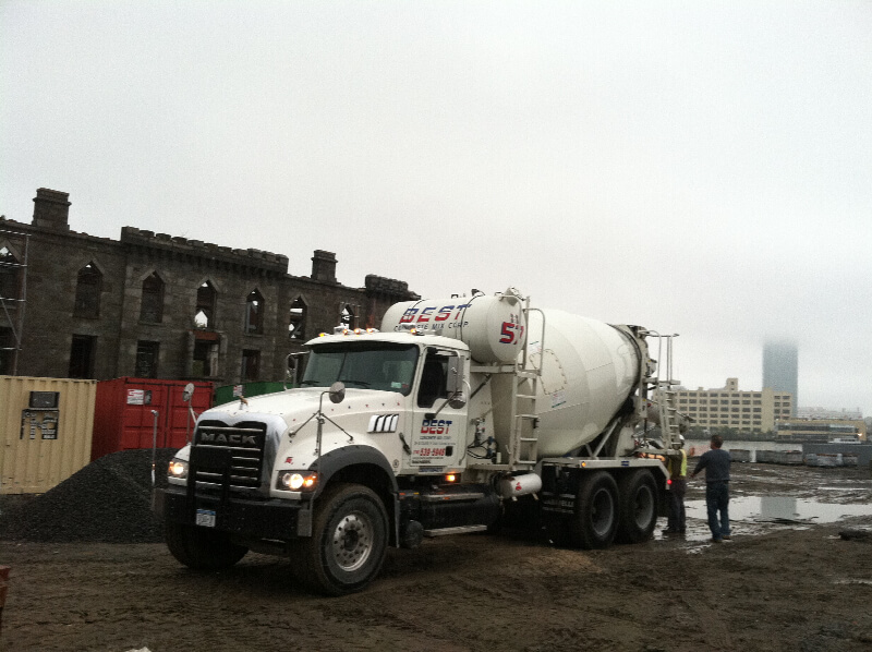 Concrete Truck and Worker - Flushing, NY - Best Concrete Mix Corp