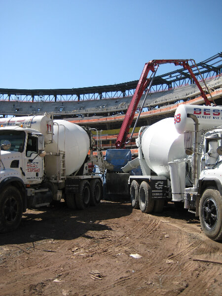 Concrete Trucks Dumping Concrete - Flushing, NY - Best Concrete Mix Corp